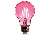 Clear Glass Pink LED Bulb