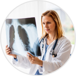 doctor looking at chest xray image